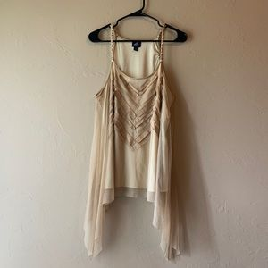 Tan mesh Tank Top with Suede Details